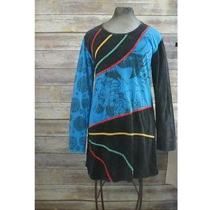 Yak N Yeti long sleeved mini dress/tunic size L